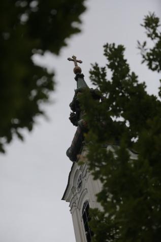 crkveni toranj, perspektiva, visoko, stabla, četinjača, križ, drvo, crkva, religija, grad