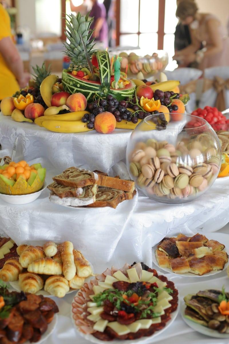 kekse, Obst, hausgemachte, Backwaren, vom Buffet, Wüsten, Essen, Frühstück, Abendessen, Mahlzeit