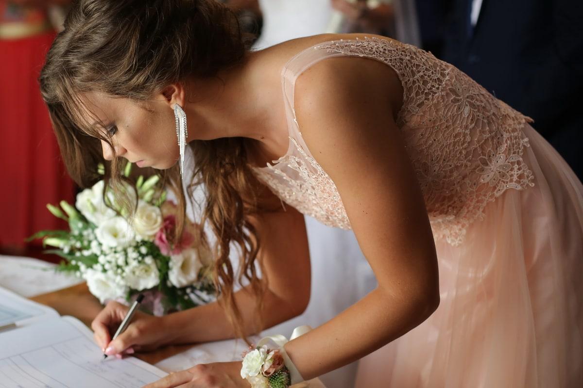 document, bride, marriage, signature, love, wedding, romance, woman, fashion, glamour