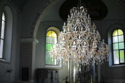 hanging, chandelier, crystal, church, interior decoration, light, inside, architecture, indoors, interior design