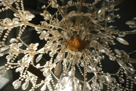 полилей, кристал, стъкло, отражение, лукс, висящи, светлина, елегантна, блестящ, декорация