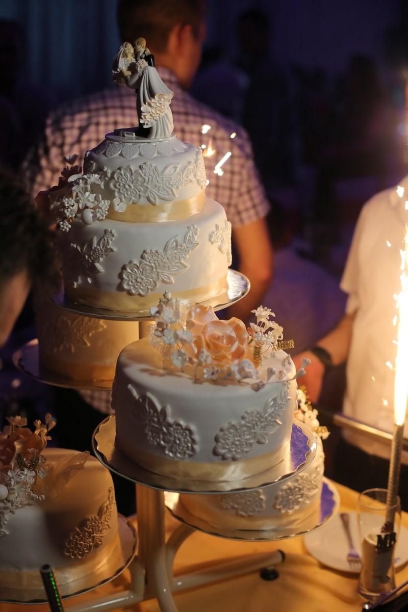 Hochzeitstorte, Funke, Feier, Kerze, Abendessen, Hochzeit, Interieur-design, Zucker, Kuchen, Schokolade