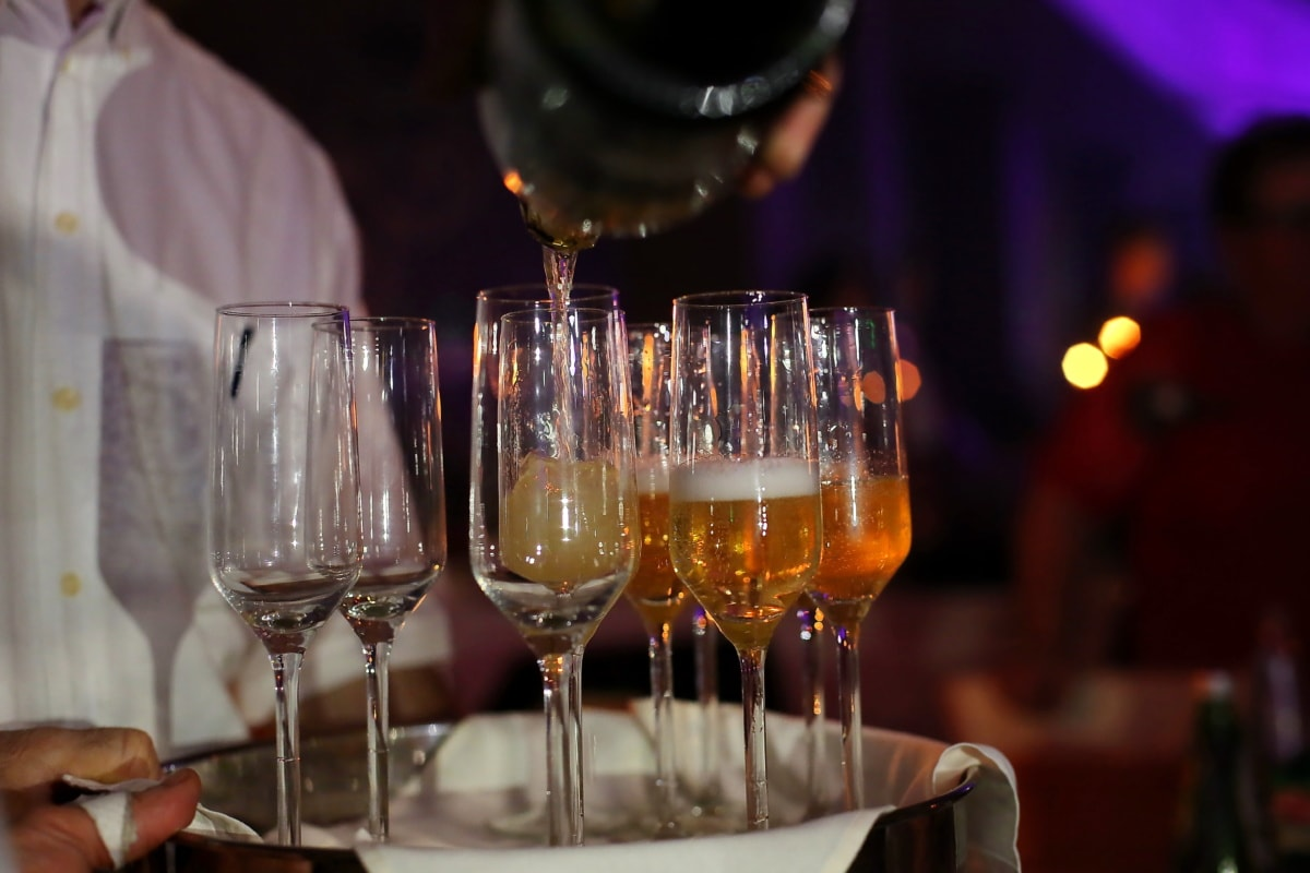 nightlife, party, nightclub, champagne, white wine, bartender, glass, bottle, alcohol, wine