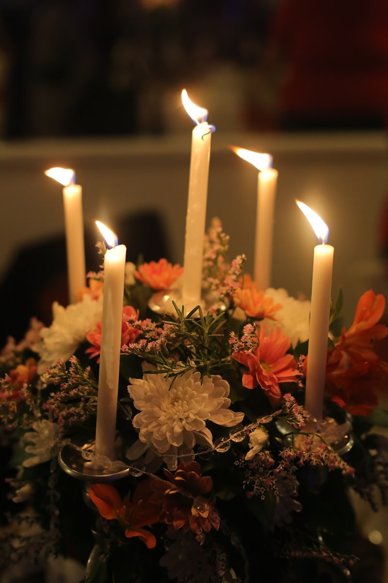 candles, candlelight, candlestick, bouquet, flames, light, shadow, flame, candle, fire