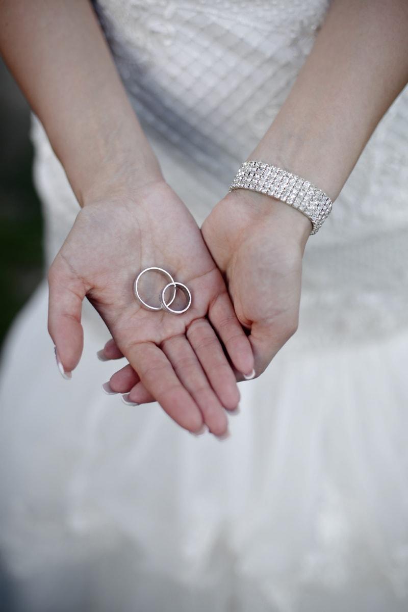 bague de mariage, robe de mariée, anneaux, bracelet, diamant, mains, femme, la mariée, mariage, peau