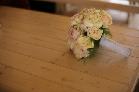 wedding bouquet, arrangement, roses, wooden, table, rose, love, flower, wedding, decoration