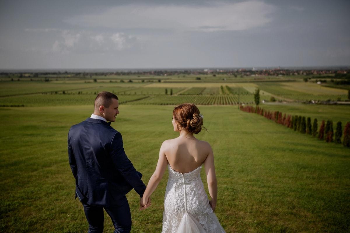 Hügel, Landschaft, Freundin, Hügel, Freund, Abfahrt, Wiese, Hochzeit, Gras, Feld