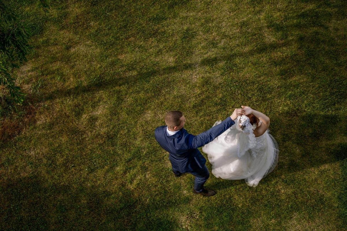 tanzen, Braut, Bräutigam, Rasen, Gras, Mädchen, Menschen, Hochzeit, Mann, im freien