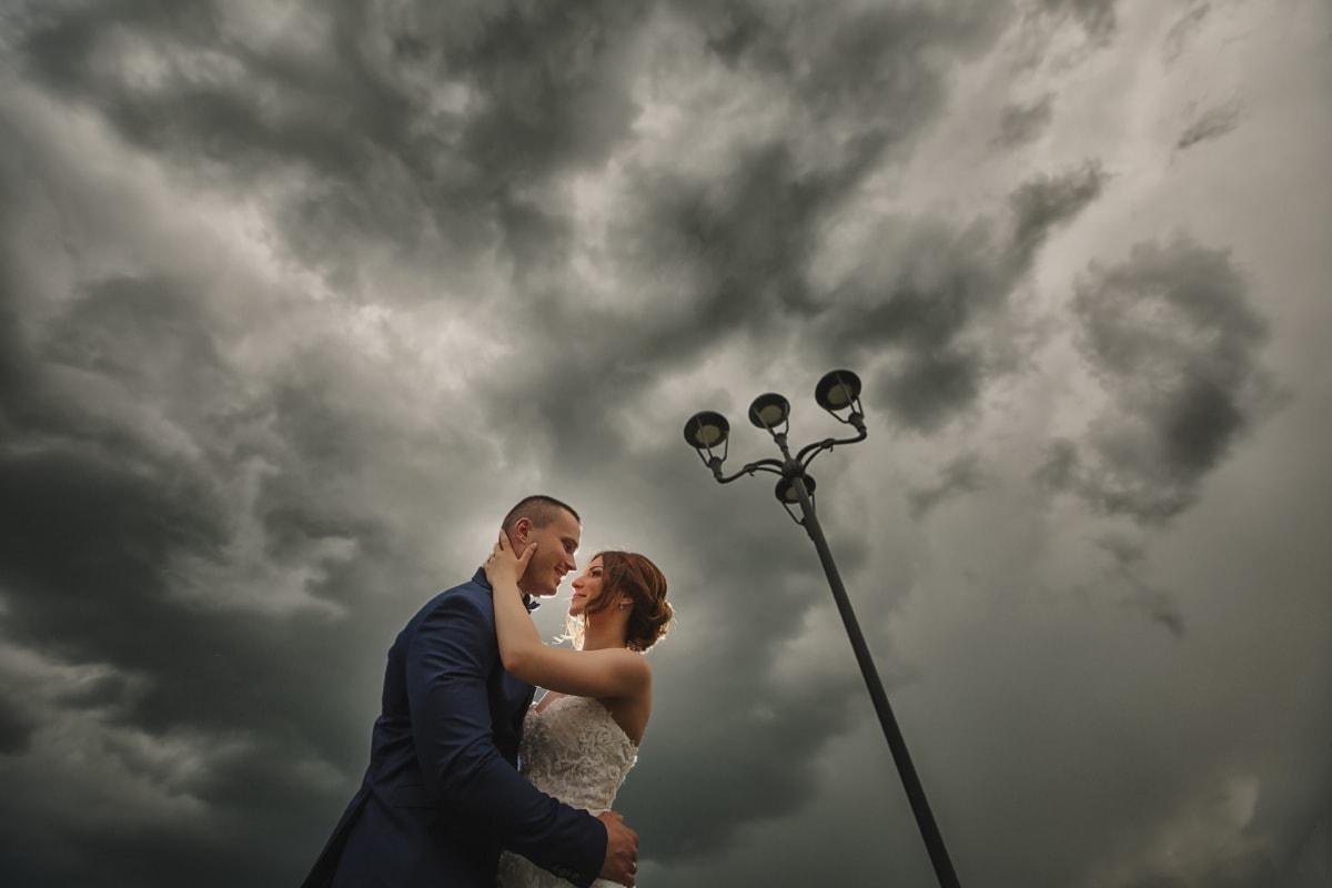hugging, love, outside, clouds, lamp, sunset, man, people, cloud, wedding
