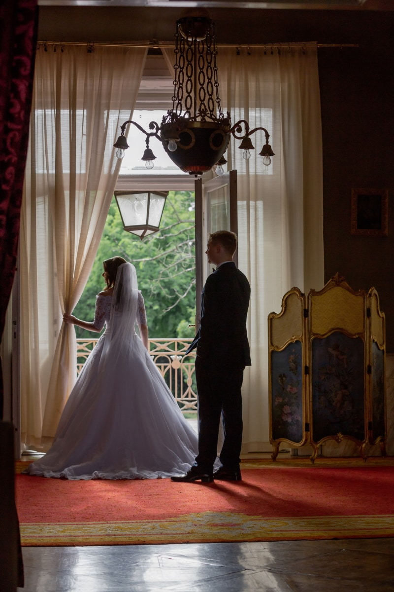 salon, baroque, bride, woman, husband, groom, wedding, room, people, indoors