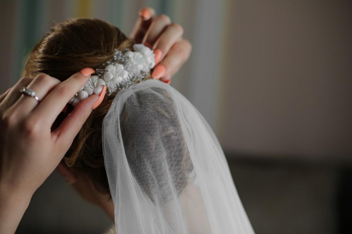 hairstyle, bride, hair, veil, hands, manicure, wedding, woman, girl, people