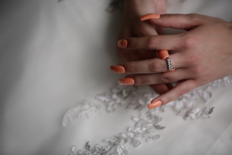 wedding ring, cosmetics, wedding, wedding dress, hands, manicure, skincare, silk, skin, woman