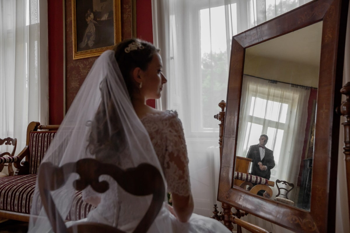 bride, bedroom, mirror, reflection, husband, people, wedding, window, furniture, room