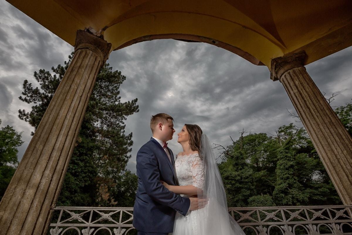Свадьба, жена, муж, любовь, балкон, крыльцо, невеста, жених, женщина, романтика