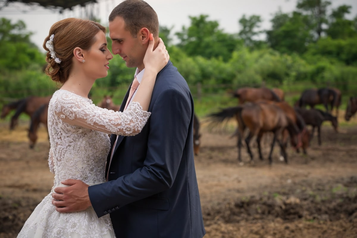 hugging, farm, groom, horses, bride, woman, love, wedding, man, happy