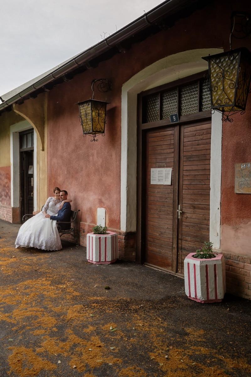 Ranch, Bauernhaus, Braut, Bräutigam, Lebensstil, Ehe, Dorf, Haus, Tür, Architektur