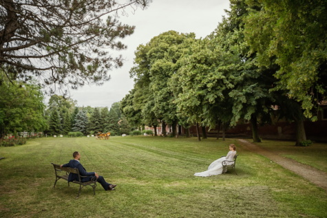 social distance, self isolation, woman, man, park, conversation, distance, grass, bench, tree