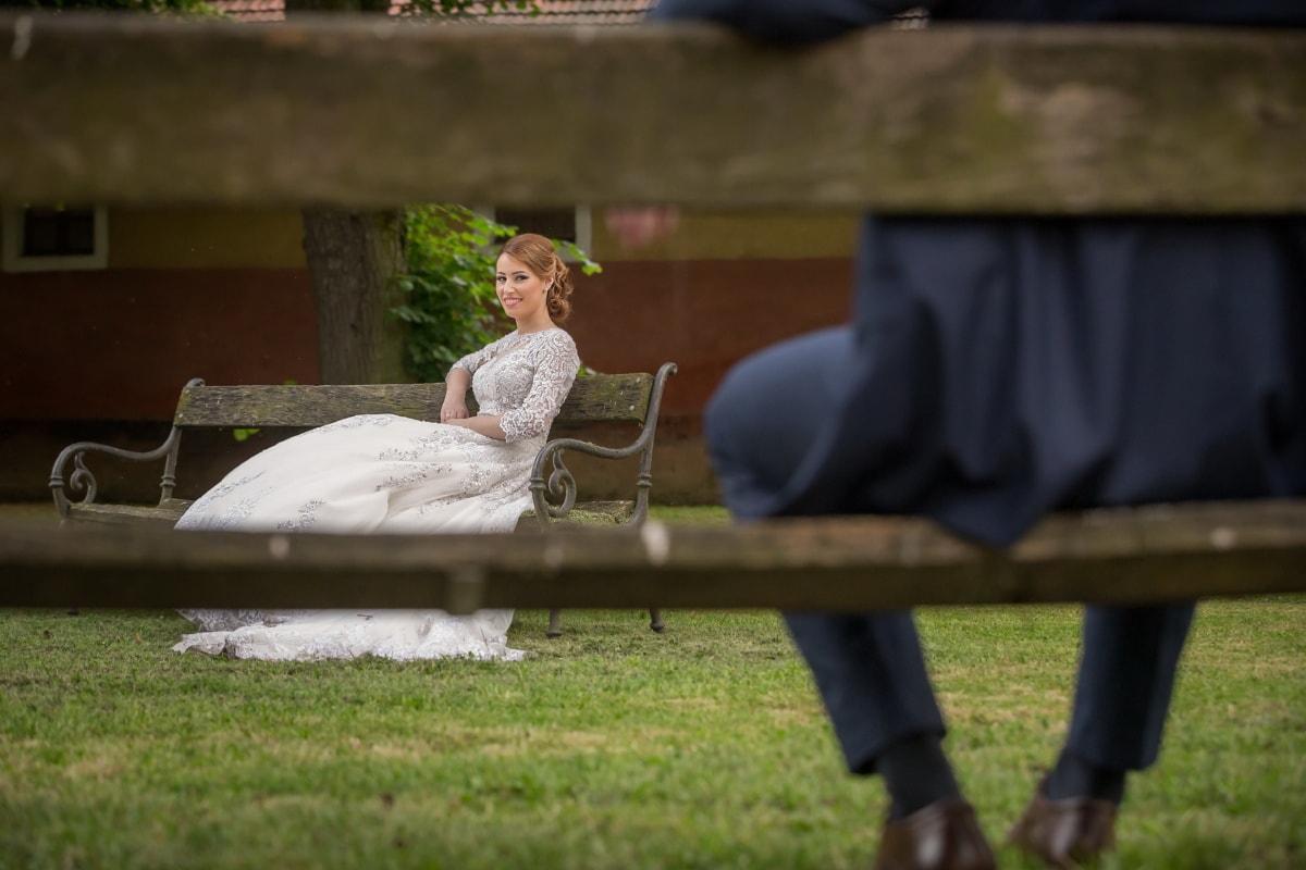 alone, social distance, woman, self isolation, dress, pretty girl, bench, grass, portrait, girl