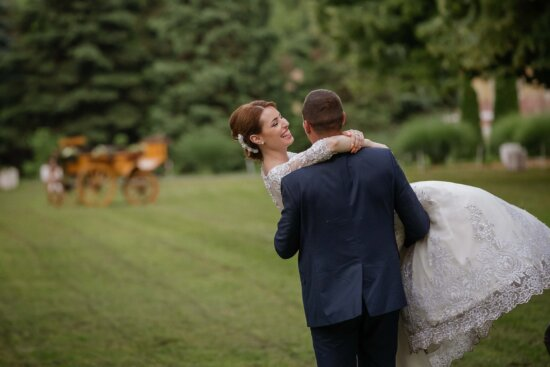 countryside, village, groom, bride, happiness, smile, wedding, grass, outdoors, love