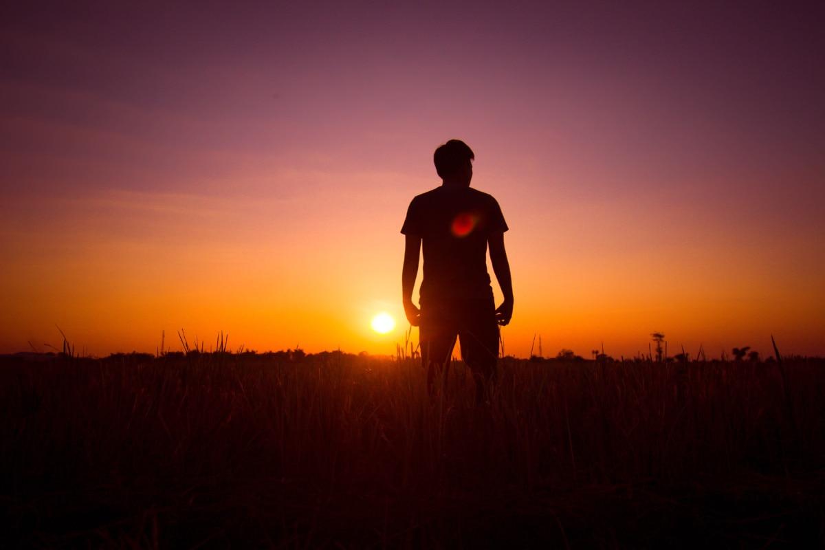 silhouette, sunset, man, standing, backlight, sun, dawn, athlete, runner, evening
