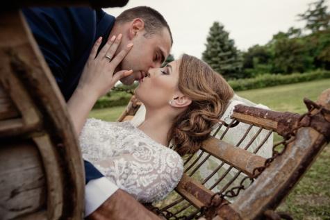 Landschaft, Braut, Bräutigam, Liebe, Umarmung, paar, glücklich, Romantik, Frau, Glück