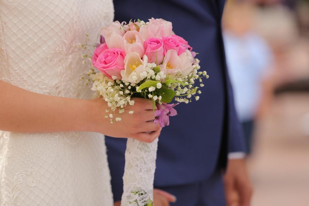 hand, bride, wedding, wedding bouquet, roses, ceremony, groom, flower, romance, bouquet