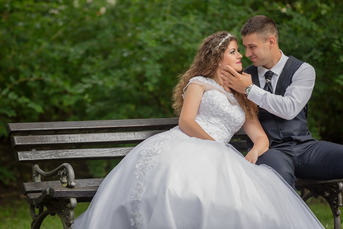 kiss, bride, groom, sitting, bench, engagement, romance, wedding, couple, love