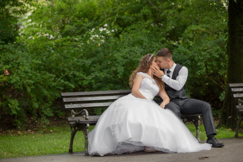 kiss, bride, groom, park, wedding dress, majestic, wedding, dress, engagement, marriage