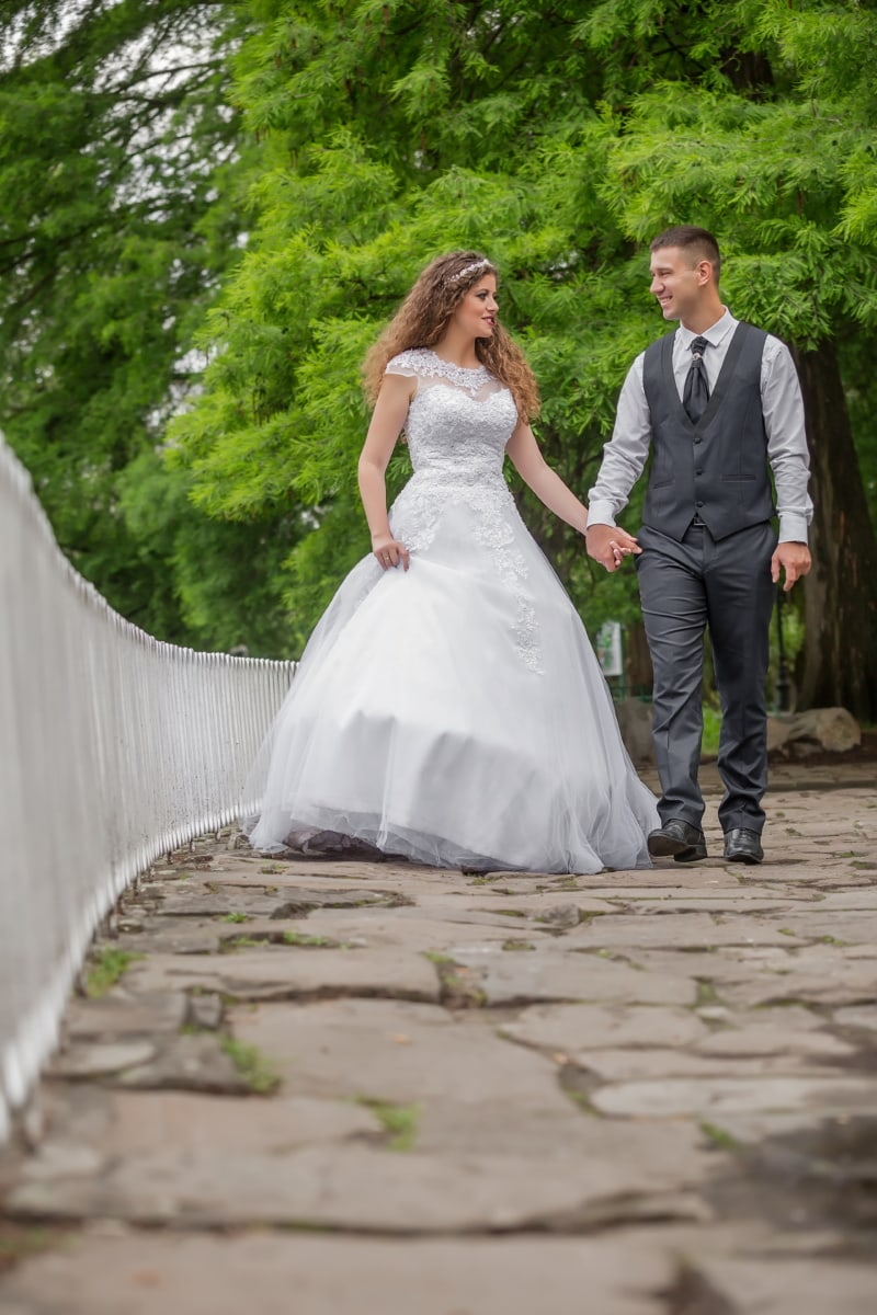 just married, bride, groom, wedding dress, wedding, walking, love, marriage, dress, married