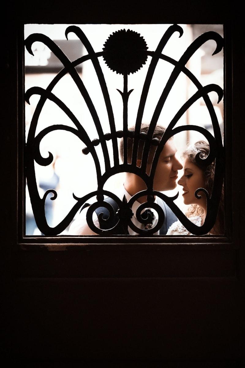 homme, baiser, femme, fenêtre, silhouette, lumière, Porte, art, ombre, Porte