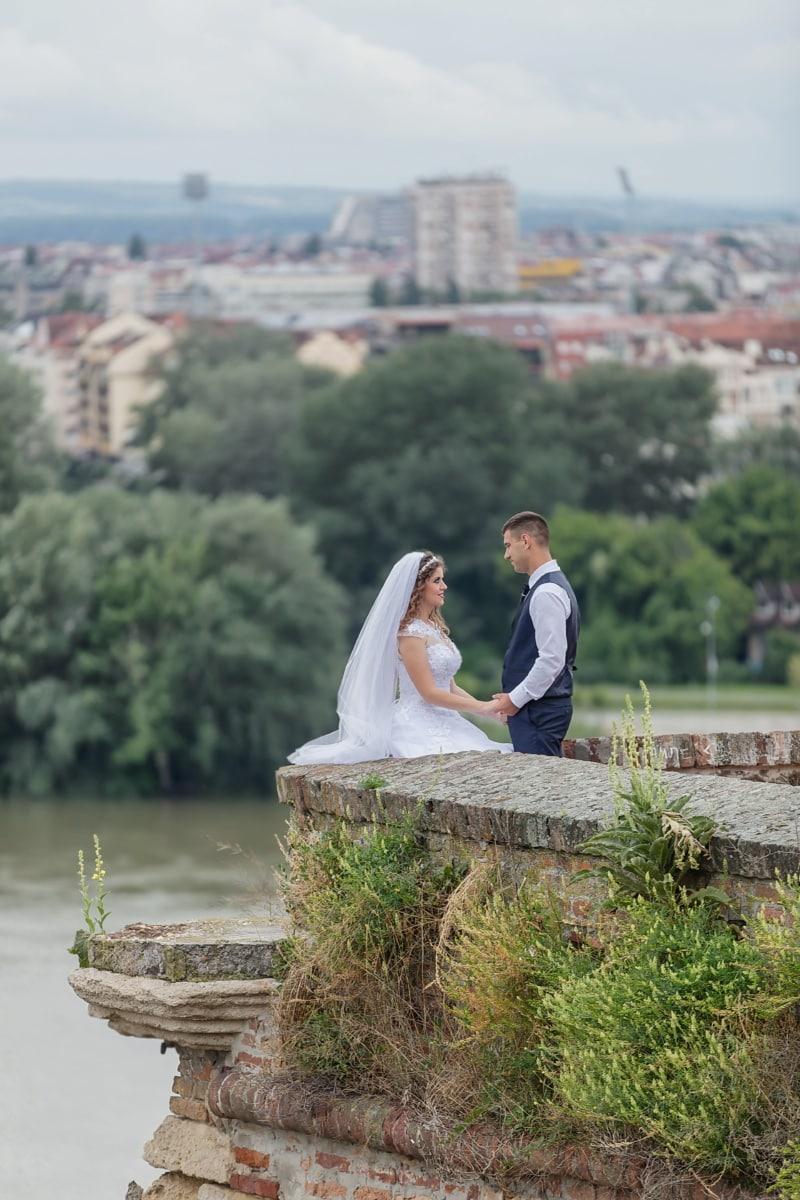 princess, castle, prince, wedding dress, bride, groom, wedding, person, water, woman