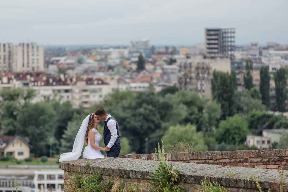 kiss, rampart, panorama, walls, city, architecture, portrait, outdoors, girl, woman