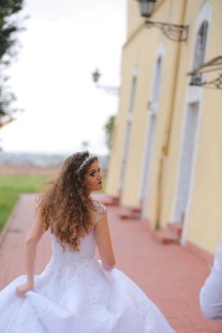 mladenka, kovrča, frizura, trčanje, žena, vjenčanje, na otvorenom, ljubav, modni, ljudi