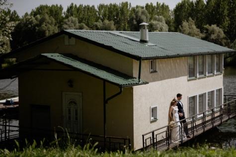 Vakantiegebied, huizen, bruid, bruidegom, lakeside, idyllische, het platform, familie, huis, huis