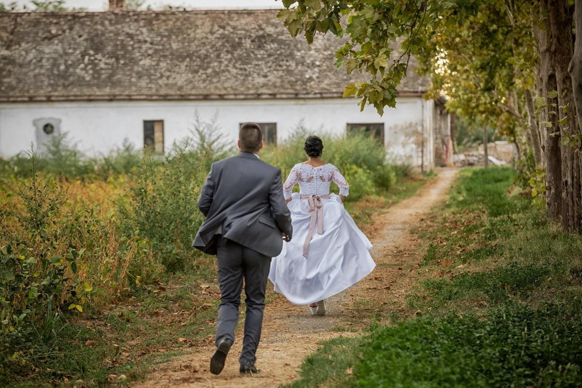 running, bride, trail, village, villager, rural, dress, married, couple, marriage