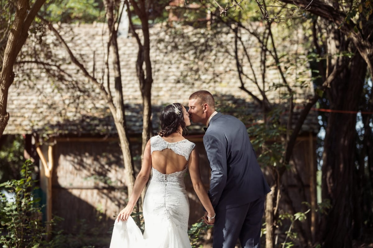 kiss, groom, cottage, village, bride, engagement, love, dress, romance, couple