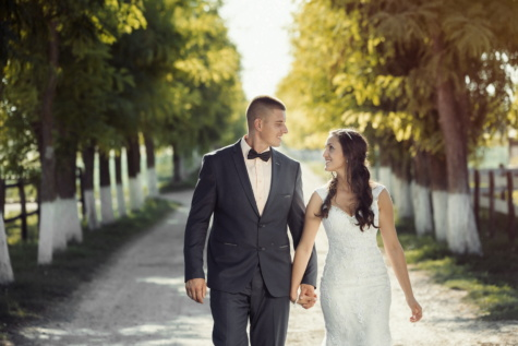 newlyweds, marriage, road, togetherness, bride, groom, walking, outdoors, man, person
