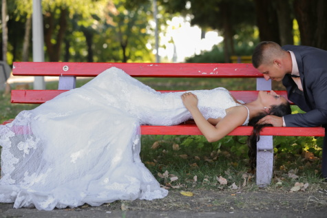bride, groom, just married, park, kiss, bench, people, nature, outdoors, girl