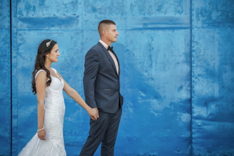 groom, handsome, man, pretty girl, bride, walking, newlyweds, just married, corporate, suit