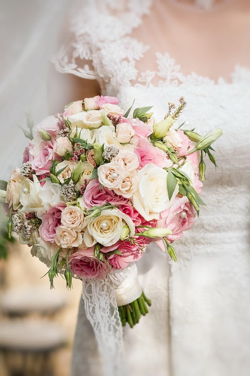 ウェディングブーケ, ウェディングドレス, エレガントです, 結婚式, 自然, 花束, ロマンス, ローズ, 愛, 花嫁
