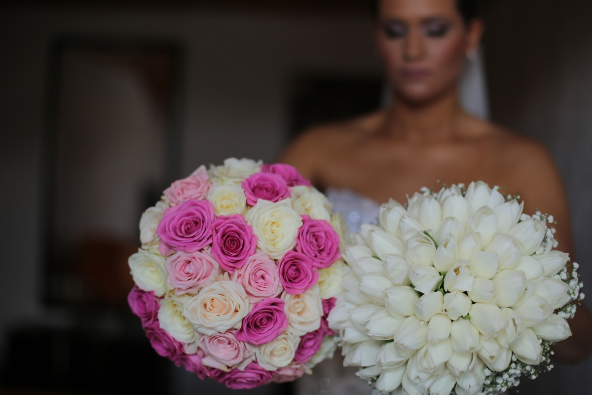 Hochzeitsstrauß, Braut, verschwommen, drinnen, Blumenstrauß, Hochzeit, Dekoration, Anordnung, Blume, Liebe