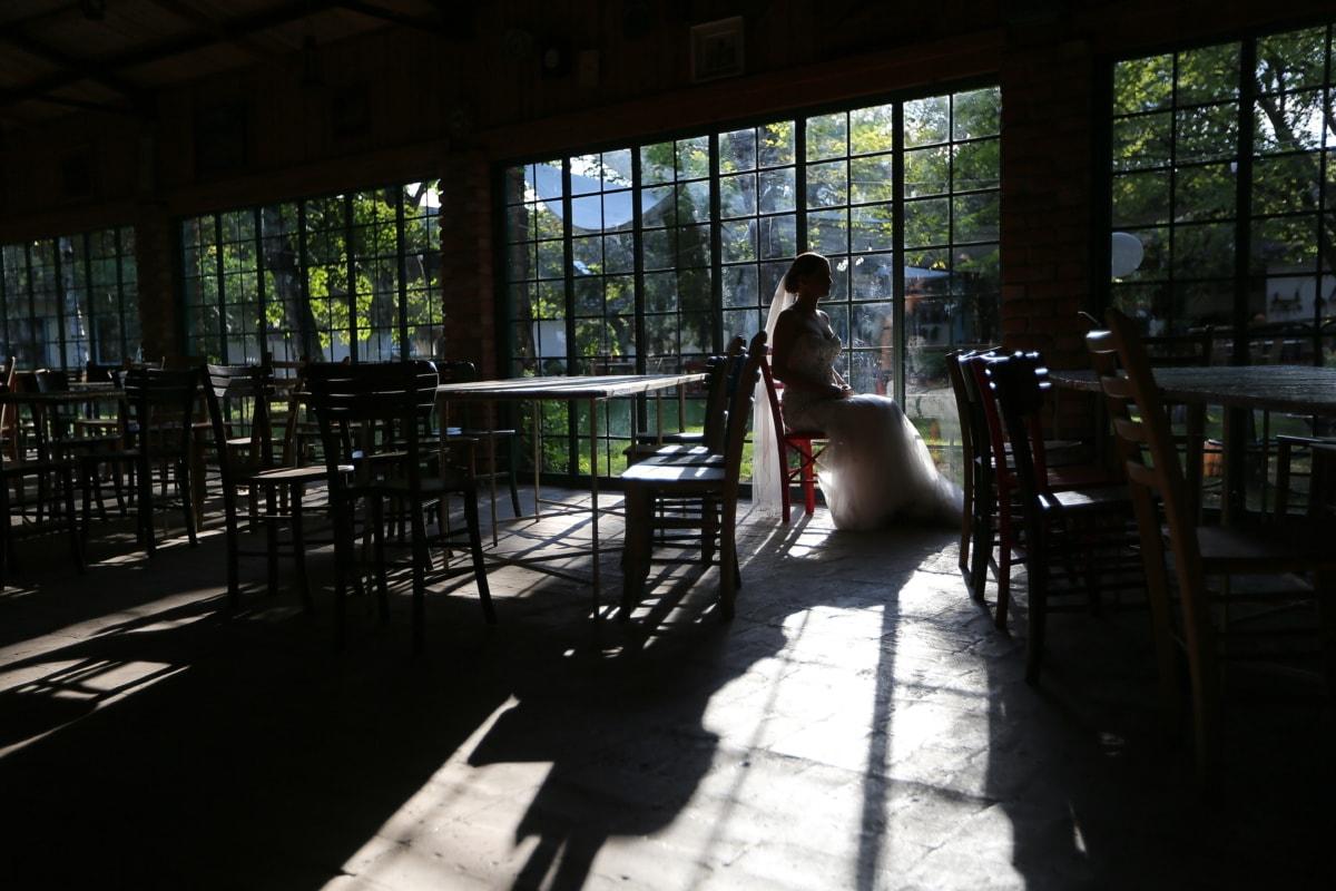 ténèbres, seul, la mariée, ombre, vide, restaurant, table, fenêtre, chambre, meubles