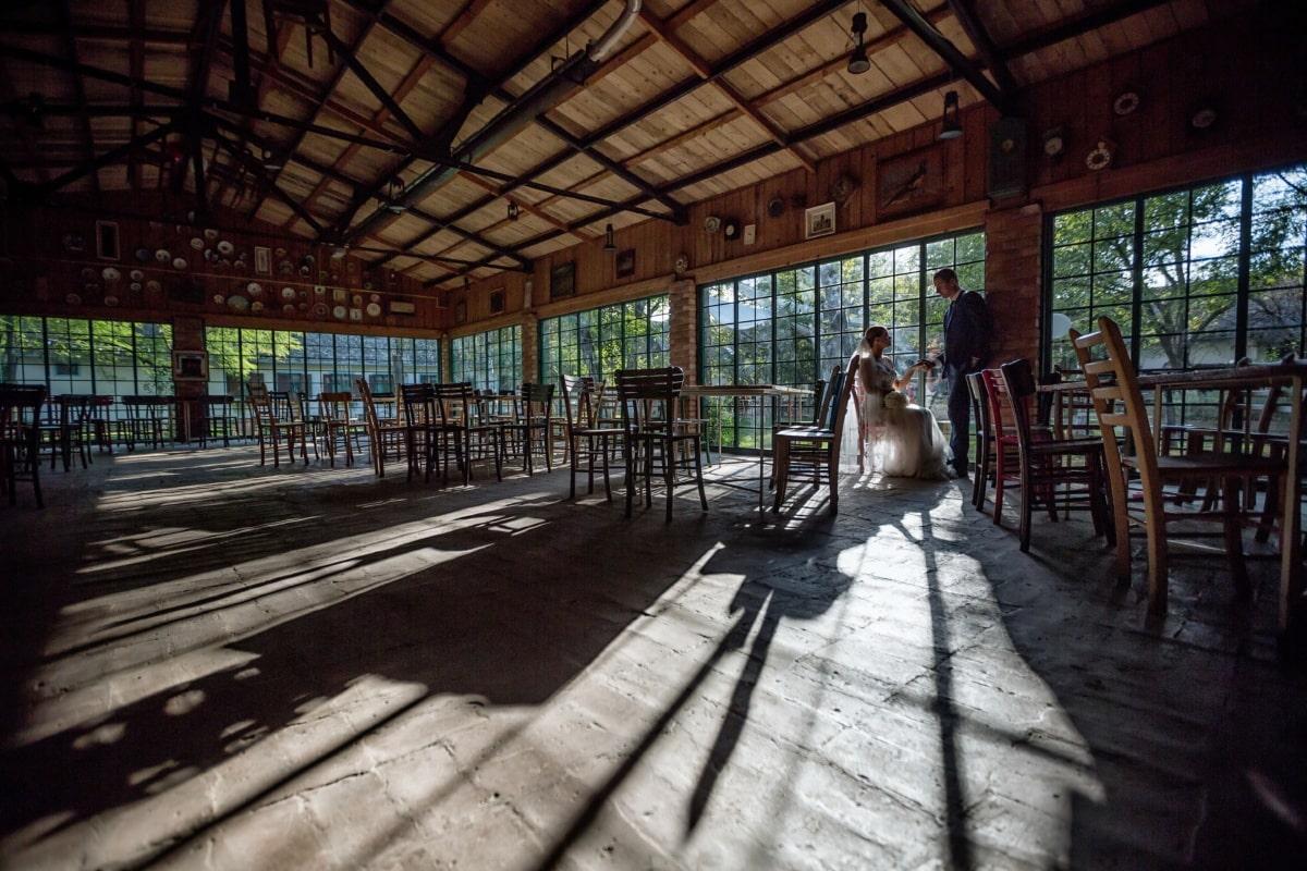 restaurant, salle de mariage, vide, jeune marié, la mariée, seul, Création de, à l'intérieur, architecture, bois