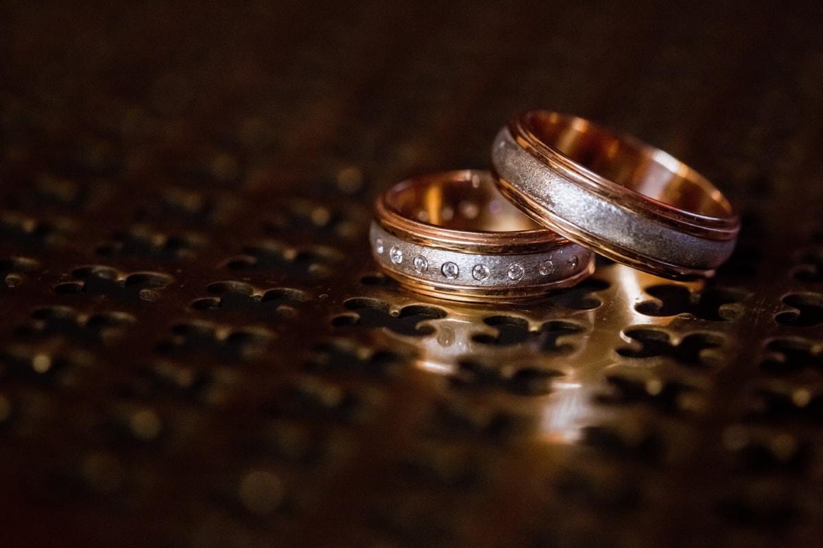 diamant, Or, anneaux, éclat doré, ombre, fermer, brouiller, nature morte, bijoux, mariage