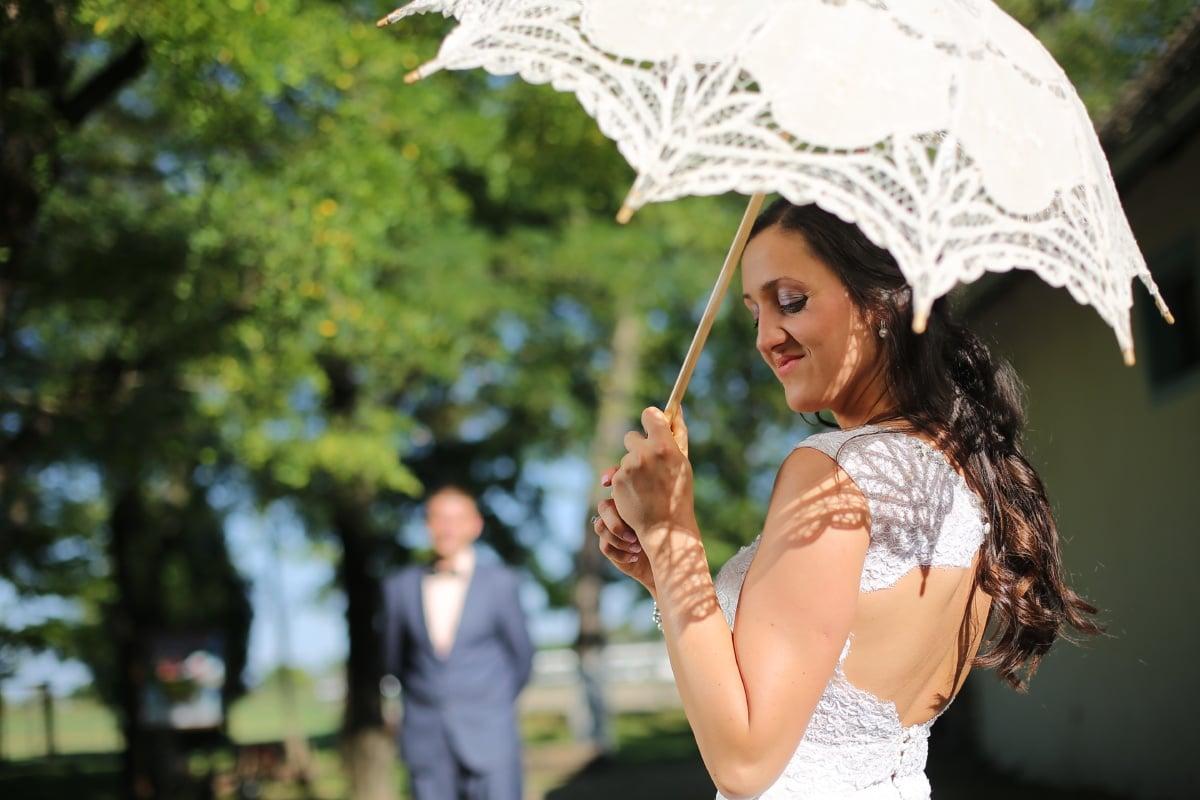 napos, beszűrődik, fehér, esernyő, gyönyörű, hölgy, divat, nő, napernyő, lány