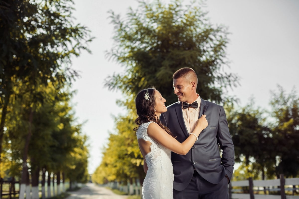newlyweds, happy, walking, hugging, groom, outdoors, wedding, person, love, portrait