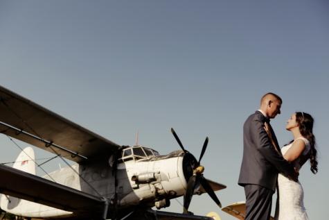 mladoženja, propeler, motor zrakoplova, mladenka, zrakoplova, vjenčanje, dvokrilac, pilot, pista, avion