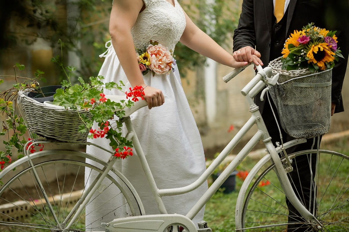 noivo, bicicleta, noiva, cesta de vime, vestido de casamento, flores, casamento, casado, vestido, amor