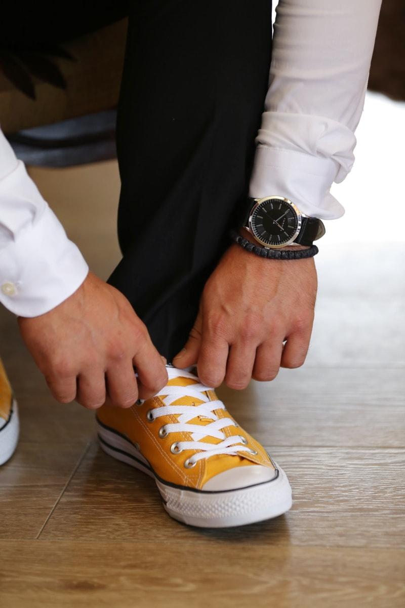 wristwatch, sneakers, pants, casual, businessman, covering, foot, footwear, man, fashion