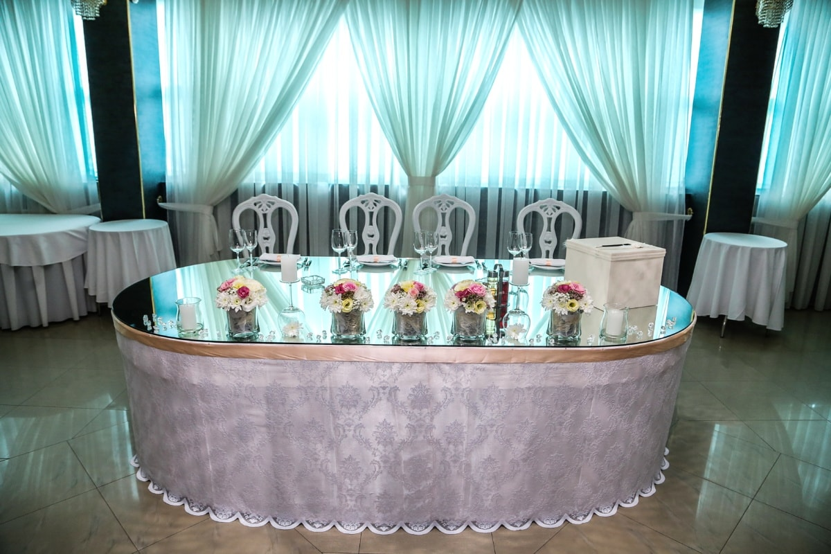 hôtel, salle de mariage, élégant, luxe, table, meubles, à l'intérieur, mariage, rideau, Design d'intérieur